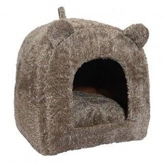 Cozy Rosewood Teddy Bear Cat Bed