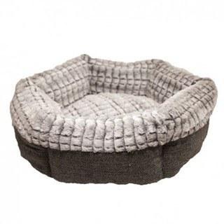 Cozy Rosewood Tweed & Plush Round Cat Bed