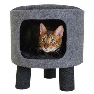 Rosewood Charcoal Felt Stool Cat Bed